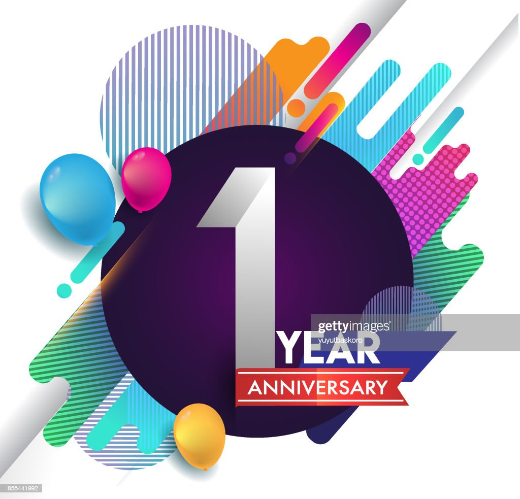 1st year Anniversary icon with colorful abstract background, vector design template elements for invitation card and poster your birthday celebration.
