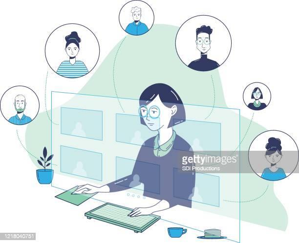 illustrations, cliparts, dessins animés et icônes de 20200331_ill_workfromhomevector_virtualmeeting1 - plante verte