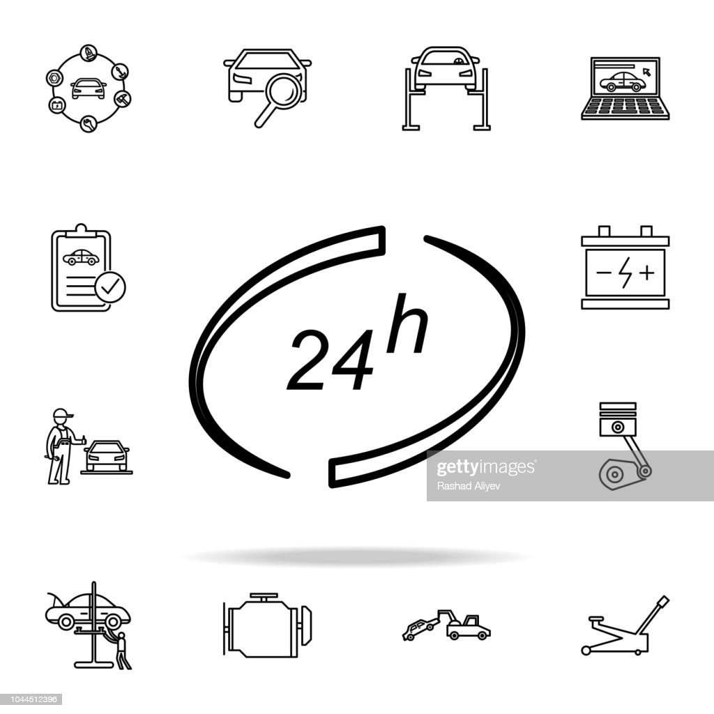 24h car service icon. Cars service and repair parts icons universal set for web and mobile