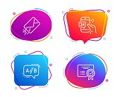 24h service, E-mail and Ab testing icons set. Certificate sign. Call support, Mail delivery, Test chat. Vector