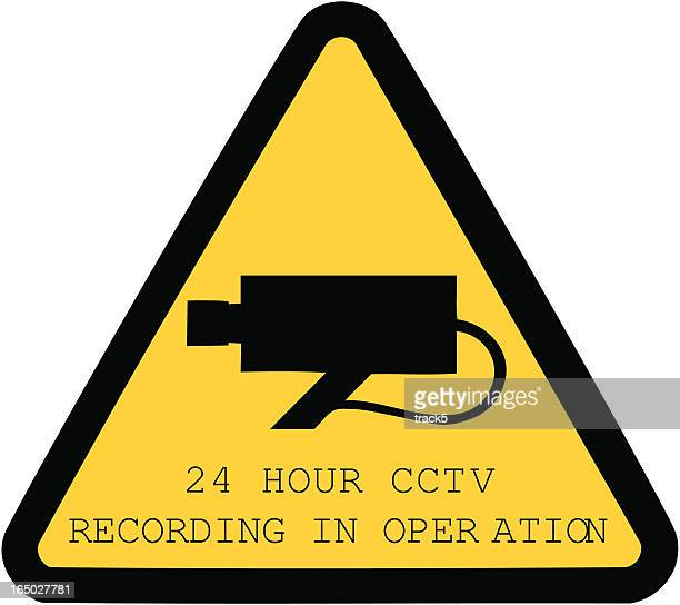 24-hour cctv recording in operation sign isolated on white - big brother orwellian concept stock illustrations, clip art, cartoons, & icons