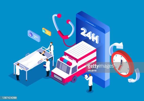 ilustrações, clipart, desenhos animados e ícones de serviço de emergência médica on-line 24 horas - acidentes e desastres