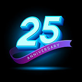 25th Anniversary 3D text with glow effect .celebration vector template design