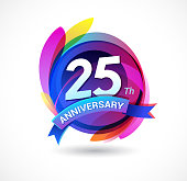 25th anniversary - abstract background with icons and elements