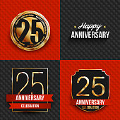 25th anniversary banners on black and red backgrounds.