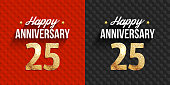 25th anniversary black and red Happy anniversary cards.