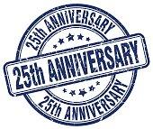 25th anniversary blue grunge stamp