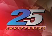 25th anniversary celebrating vector icon gray and blue color on red background design