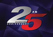 25th anniversary celebrating vector icon gray and blue color
