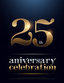 25th Anniversary Celebration Colored Metal Chrome alphabet. Elegant Silver and Golden Typography classic style gold font set for logo, Poster, Invitation. vector illustration