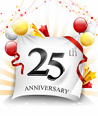 25th anniversary celebration with colorful confetti and balloon on cloth background with shiny elements
