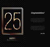 25th anniversary decorated invitation card template.
