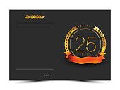 25th anniversary decorated invitation / greeting card template.