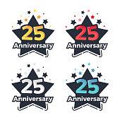 25th anniversary festive emblem set in 4 colors. Trendy vector design