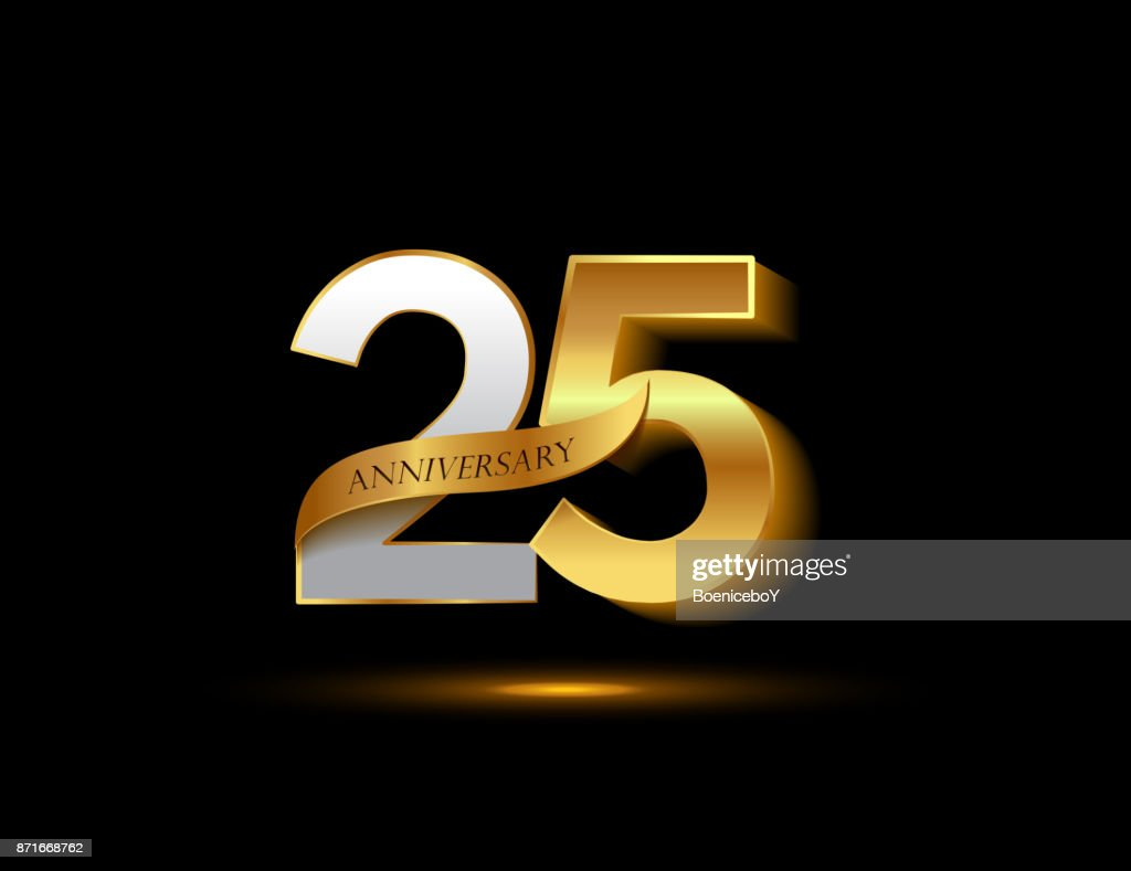 25th anniversary glowing logotype with ribbon golden colored isolated on dark background, vector design for greeting card and invitation card.