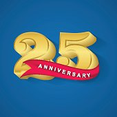 25th anniversary gold emblem design template