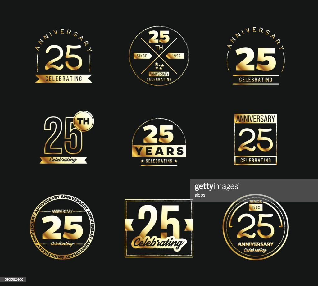 25th anniversary gold symbol type set. Jubilee banner.