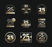 25th anniversary gold symbol type set. Jubilee banner.