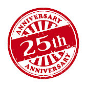 25th anniversary grunge rubber stamp