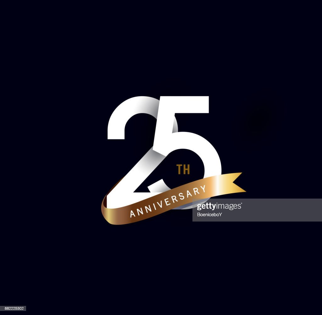 25th anniversary icon with gold ribbon. template design for web, game ,Creative poster, booklet, leaflet, flyer, magazine, invitation card