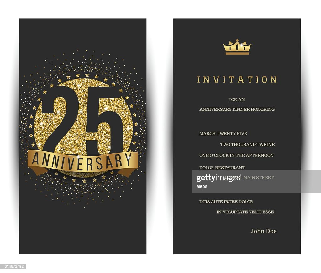 25th anniversary invitation card with golden logo.