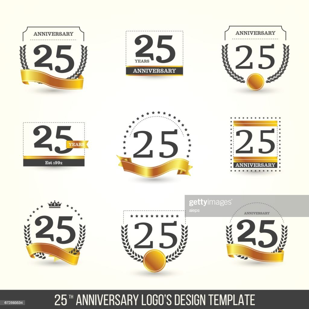 25th anniversary logo set with gold elements.