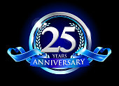25th anniversary logo with blue ribbon