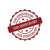 25th anniversary red stamp illustration
