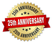 25th anniversary round isolated gold badge