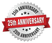25th anniversary round isolated silver badge