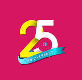 25th Anniversary simple emblems, template design for web, game ,Creative poster, booklet, leaflet, flyer, magazine, invitation card