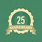 25th anniversary vector label on a green ornament background.