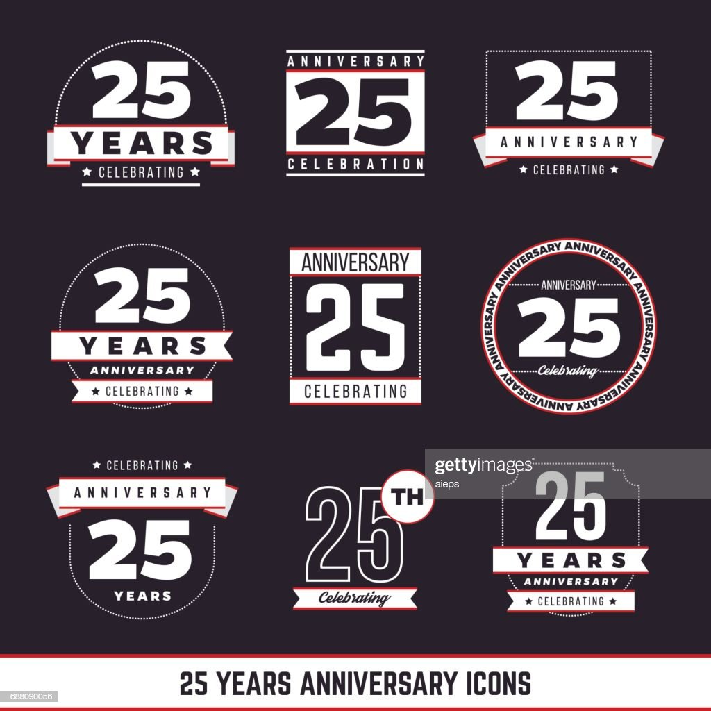 25th anniversary vintage logo set. 25 years symbols.