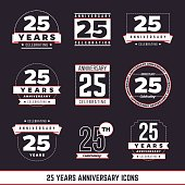 25th anniversary vintage logo set. 25 years symbols.
