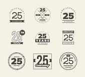 25th anniversary vintage symbol set. 25 years symbols.