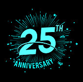 25th anniversary  with firework background. glow in the dark design concept