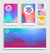 25th anniversary with Fluid colors covers set. celebration template Good for cover, placards, poster, banner, background, flyer design