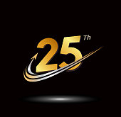 25th anniversary with swoosh and arrow icon. fast and forward golden anniversary logo on black background