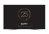 25th Happy anniversary decorated card template.