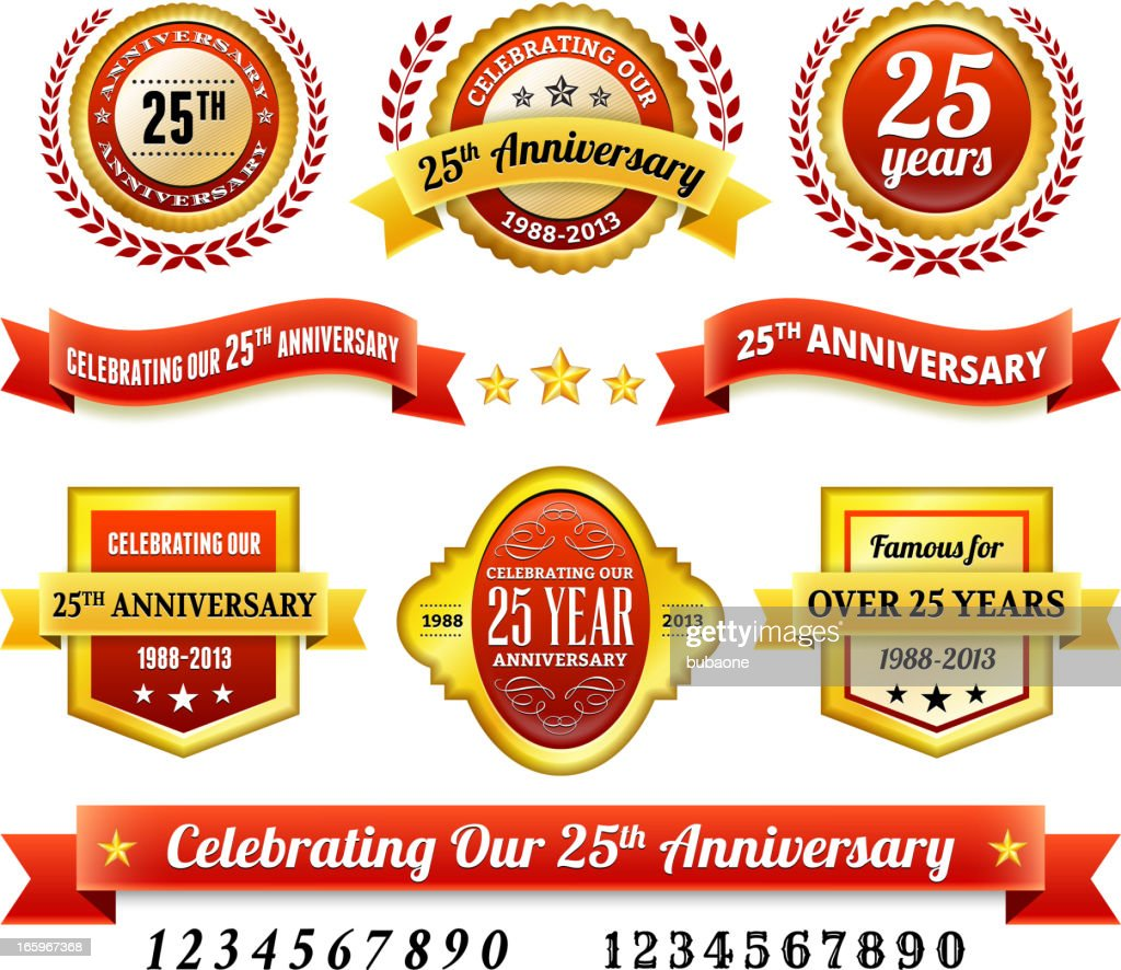 25th year anniversary Badges Red and Gold Set