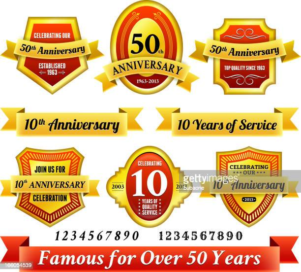 stockillustraties, clipart, cartoons en iconen met 25th year anniversary badges red and gold set - 50 jarig jubileum