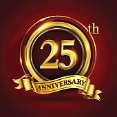 25th years anniversary logo with gold ring and golden ribbon, vector design