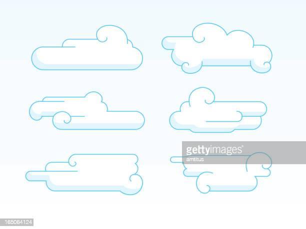 """ilustrações, clipart, desenhos animados e ícones de 2 d japonês coleção de nuvens """" - cultura japonesa"""