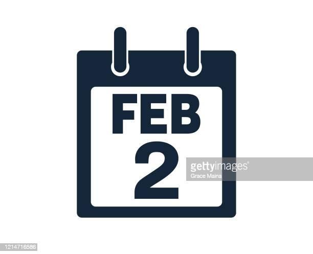 illustrations, cliparts, dessins animés et icônes de 2 février calendrier icon stock vector illustration - 2ème jour d'un événement