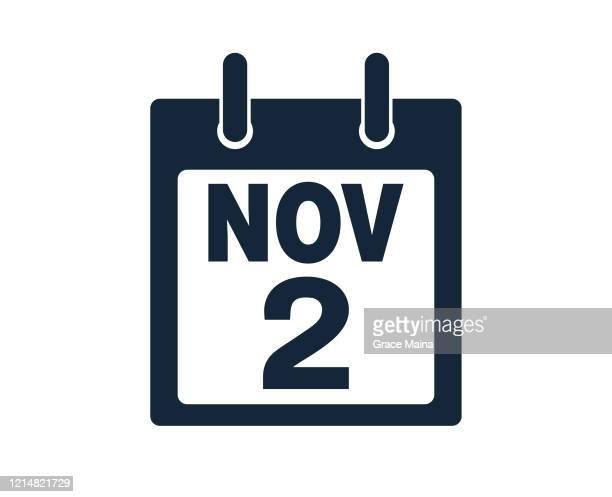 illustrations, cliparts, dessins animés et icônes de 2 novembre calendrier icon stock vector illustration - 2ème jour d'un événement