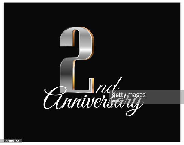 2nd years anniversary - anniversary card stock illustrations