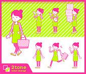 2tone type Ballet Bun hair Apron mom_set 02