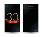 30th anniversary decorated invitation / greeting card template.