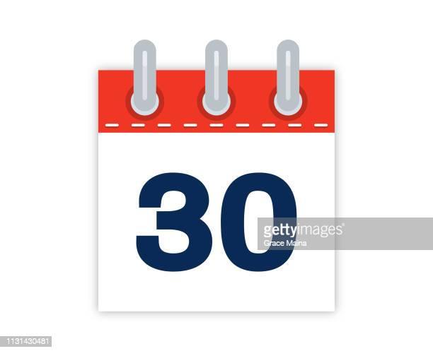 月の30日のカレンダーの日付-ベクトル - 数字の30点のイラスト素材/クリップアート素材/マンガ素材/アイコン素材