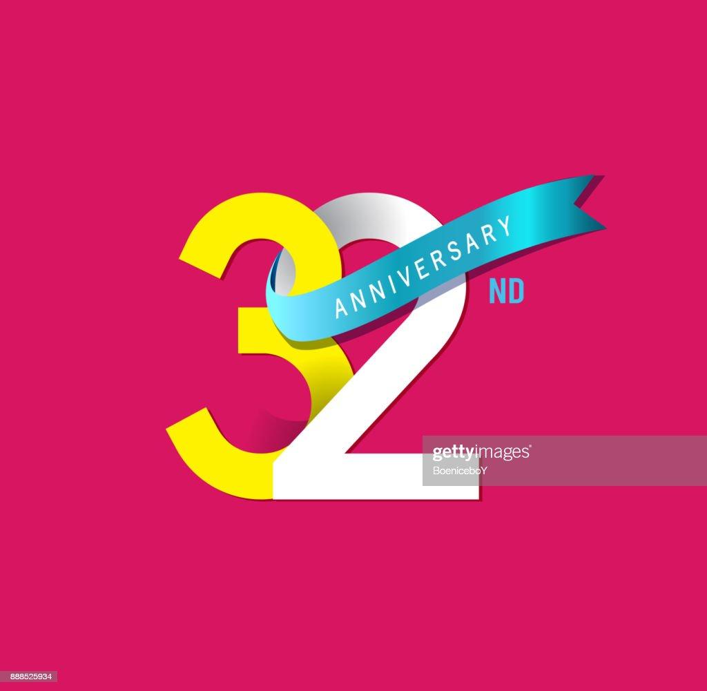 32e Verjaardag Eenvoudige Emblemen Sjabloon Ontwerpen Voor Het Web